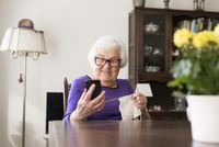 Sweden, Senior woman looking at smartphone and knitting 11090019533| 写真素材・ストックフォト・画像・イラスト素材|アマナイメージズ