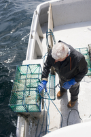 Sweden, Vastra Gotaland, Vrango, Man adjusting cage on boat 11090020113| 写真素材・ストックフォト・画像・イラスト素材|アマナイメージズ