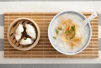 Barbecued pork bun and porridge, traditional Chinese breakfa