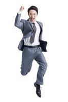 Excited businessman jumping 11091005947| 写真素材・ストックフォト・画像・イラスト素材|アマナイメージズ