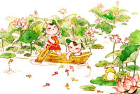 Cute children rowing a boat in lotus pond