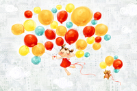 Little girl and puppy flying in the sky with balloons