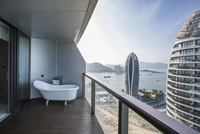 Balcony overlooking sea, China