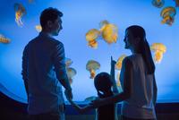 Young family in aquarium