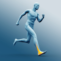 Blue human figure running with highlighted ankle