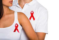 Couple supporting aids awareness together