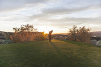 A man taking a shot off a golf tee on a golf course into the sunset.  11093005045| 写真素材・ストックフォト・画像・イラスト素材|アマナイメージズ
