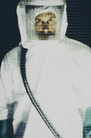 Portrait of man wearing protective clean suit