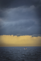 Fishing boats on the ocean under a cloudy sky.