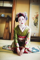 A woman dressed in the traditional geisha style, wearing a kimono and obi, with an elaborate hairstyle and floral hair clips, wi