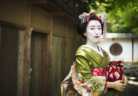A woman dressed in the traditional geisha style, wearing a kimono and obi, with an elaborate hairstyle and floral hair clips, wi 11093012221  写真素材・ストックフォト・画像・イラスト素材 アマナイメージズ