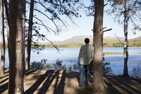 A man standing in the shade of pine trees looking out over a lake and the mountain and forest landscape.
