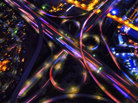 Infinity Intersection, an aerial view of the freeways in Los Angeles.