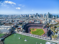 Aerial view over the A & T Ballpark the home of the San Francisco  Giants football team in San Francisco. Cityscape.
