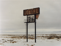 A sign in the desert landscape, Diesel, in the middle of nowhere.