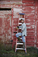 A young man in working clothes and cap standing on a ladder leant up against a barn. 11093014119| 写真素材・ストックフォト・画像・イラスト素材|アマナイメージズ
