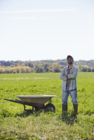 A young man in working clothes standing in a crop field with arms folded next to a wheelbarrow.