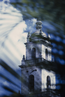 View through palm leaves of the cathedral tower in Merida. Patterns and shadows. 11093014179| 写真素材・ストックフォト・画像・イラスト素材|アマナイメージズ