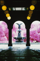 Archway and water fountain in Central Park, New York City.