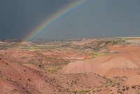 Rainbow and storm clouds over the Painted Desert