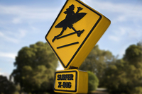 A close up of a yellow sign showing a surfer crossing a road.