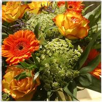 Bouquet with roses and gerberas 11094000076| 写真素材・ストックフォト・画像・イラスト素材|アマナイメージズ