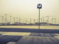 Austria, Vienna, seaside town, construction site, cranes, underground station