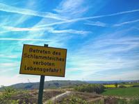 Warning mud pond, near Bad Nauheim, Wetterau, Hesse, Germany