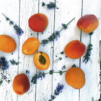 Apricots and lavender on table