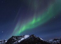 Polar lights (aurora borealis) on Gimsoy, Lofoten, Norway