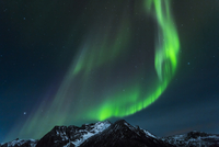 Polar lights (aurora borealis) in Gimsoy, Lofoten, Norway
