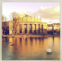 Germany, Baden-Wuerttemberg, Stuttgart, Eckensee, state theater, theater, opera, Big House, Swan