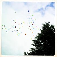 Balloons rise into the sky, School Carnival, Horn, Austria