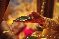henna hands in an Indian wedding