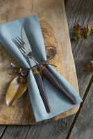 Tied napkin and silverware on wooden cutting board 11096002486| 写真素材・ストックフォト・画像・イラスト素材|アマナイメージズ
