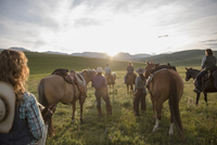 Female ranchers with horses watching sunset remote field