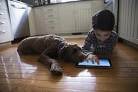 Dog laying by boy using digital tablet floor