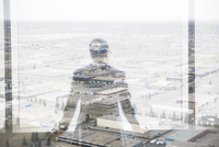 Digital composite businessman looking over industrial buildings 11096017063| 写真素材・ストックフォト・画像・イラスト素材|アマナイメージズ