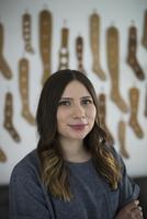 Portrait confident yarn store owner