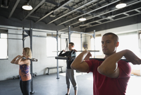 Exercise class using barbells