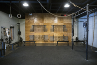 Vacant crossfit gym equipment 11096018652| 写真素材・ストックフォト・画像・イラスト素材|アマナイメージズ