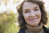 Close up portrait smiling woman