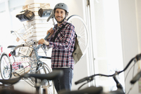 bicyclist at bike shop