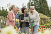 mature women discussing landscaping plans