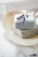 Close-up of guest soaps in soap dish with lavender sprig.