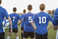 View from behind of teenage soccer players.