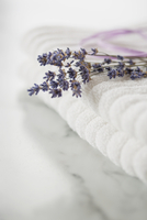 Close-up of lavender sprig on white towels.