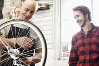 repairing bike in bike shop