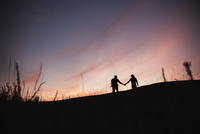 Silhouette of couple holding hands outdoors.