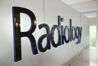 Close-up of radiology sign